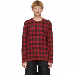 Comme Des Garcons Homme Plus Red Jacquard Check Long Sleeve T-Shirt PF-T007-051
