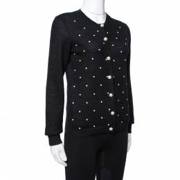 Chanel Black Bead Embellished Mohair Button Front Cardigan M 335901