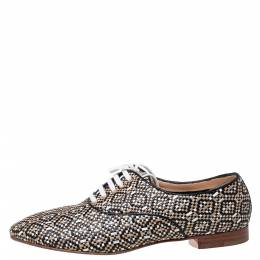 Christian Louboutin Multicolor Woven Leather Fred Lace Up Oxfords Size 41.5 336125