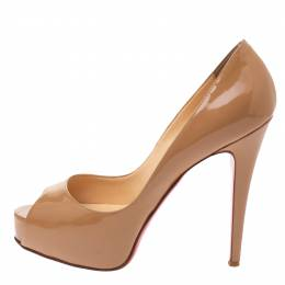 Christian Louboutin Beige Patent Leather New Very Prive Peep Toe Platform Pumps Size 38 333943