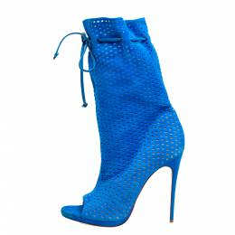 Christian Louboutin Light Blue Perforated Suede Jennifer Wrap Boots Size 41 365836