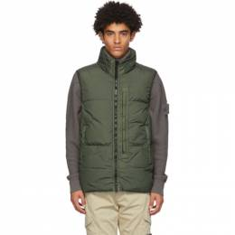 Stone Island Green Down Crinkle Reps Vest 7315G0123