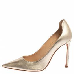 Dior Metallic Gold Leather Pointed Toe Pumps Size 39 339960