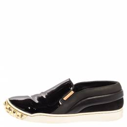 Louis Vuitton Black Patent Leather And Leather Gold Studded Tempo Slip On Sneakers Size 36 339970