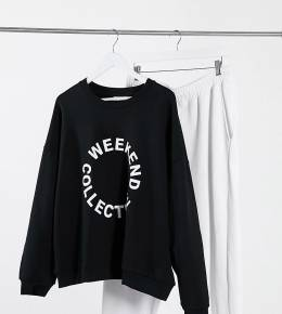 Черный oversized-свитшот с логотипом ASOS Design Weekend Collective Curve 10639795