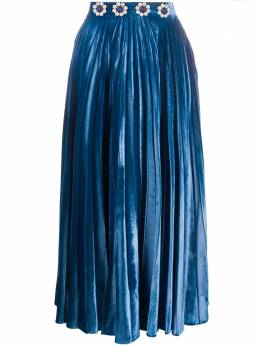 Christopher Kane crystal pleated velvet skirt AW20SK1336PLAINVELVETSECURITYBLUE