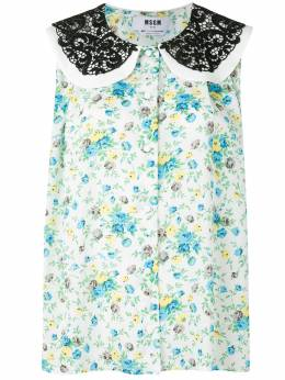 MSGM sleeveless floral lace-collar blouse 2943MDT03207625