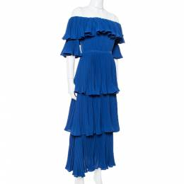 Self-Portrait Navy Blue Crepe Pleated Tiered Off Shoulder Dress S 340733
