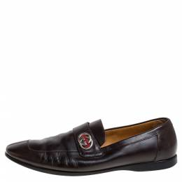 Gucci Brown Leather GG Loafers Size 42.5 347223