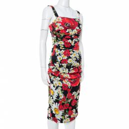 Dolce and Gabbana Black Floral Print Silk Ruched Dress S 340762