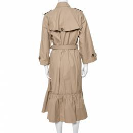 Red Valentino Beige Cotton Frill Hem Trench Coat S 332231