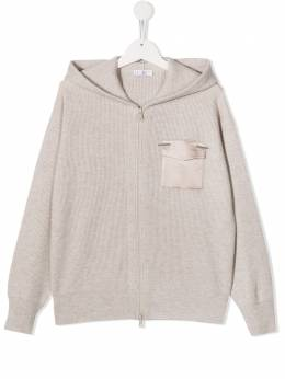 Кашемировое худи в рубчик Brunello Cucinelli Kids B12M14206