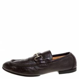Gucci Brown Guccissima Leather Horsebit Loafers Size 42.5 347490