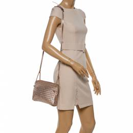 Bottega Veneta Metallic Rose Gold Intrecciato Leather Nodini Shoulder Bag 347198