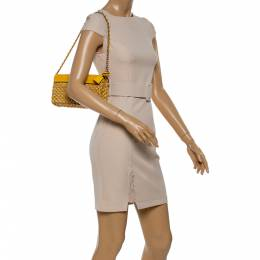 MICHAEL Michael Kors Mustard Woven Straw and Leather Gabriella Shoulder Bag 347138