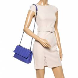 Bottega Veneta Light Purple Intrecciato Leather Small Olimpia Shoulder Bag 348431