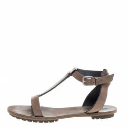 Brunello Cucinelli Light Brown Leather Bead Detail Flat Sandals Size 38 348860