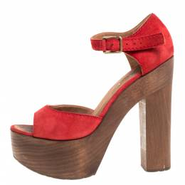 Chanel Red Suede and Wood Platform Sandals Size 38 348850