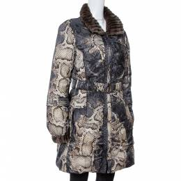 Roberto Cavalli Grey Snake Print Mink Fur Trim Down Coat L 347424