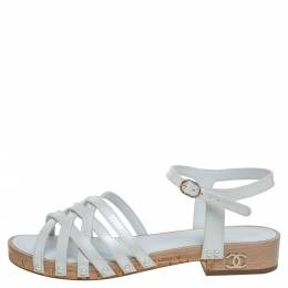 Chanel White Patent Leather Ankle Strap Strappy Cork Flat Sandals Size 40 347900