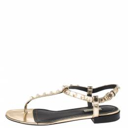 Balenciaga Gold Studded Leather Arena Thong Sandals Size 39 349241