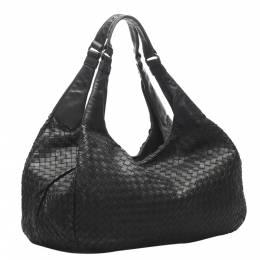 Bottega Veneta Black Intrecciato Campana Hobo Bag 347680