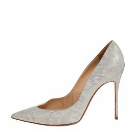Christian Louboutin White Shimmery Fabric Completa Pointed Toe Pumps Size 38.5 340889