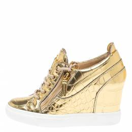 Giuseppe Zanotti Design Gold Croc Embossed Leather Double Zip Wedge Sneakers Size 37 349569