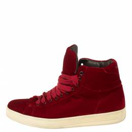 Tom Ford Red Velvet Russell High Top Sneakers Size 41 350712