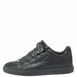 Balenciaga Grey Leather Arena Low Top Sneakers Size 43 350492