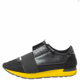 Balenciaga Black Leather And Mesh Race Runners Sneakers Size 41 350499