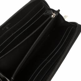Chanel Black Leather Timeless CC Zip Around Wallet 350399