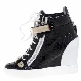 Giuseppe Zanotti Design Black Python Embossed Patent Leather Lorenz Wedge High Top Sneakers Size 37 349781