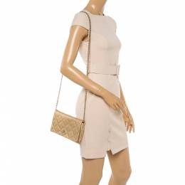 Carolina Herrera Gold Quilted Embossed Leather Flap Chain Clutch 350252