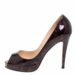 Christian Louboutin Dark Brown Tortoise Patent Leather Very Prive Peep Toe Pumps Size 40 339800