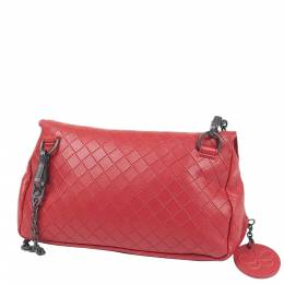 Bottega Veneta Red Leather Intrecciomirage Chain Bag 347609