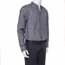 Armani Collezioni Grey Texture Print Cotton Button Front Shirt XL 350568