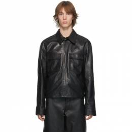 Lemaire Black Leather Large Collar Jacket M 203 LT104 LL159