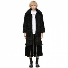 Black Faux Fur Coat Youths in Balaclava YOU02J002