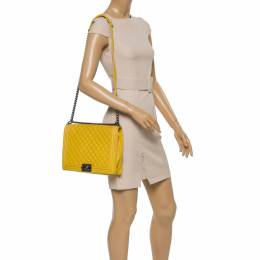 Chanel Yellow Quilted Leather Large Boy Flap Bag 352280