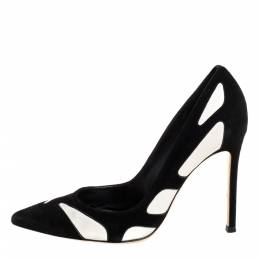 Gianvito Rossi Black/White Suede and Leather Cutout Pumps Size 36 335075