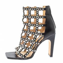 Sergio Rossi Black Leather Embellished Cut Out Sandals Size 37.5 354190