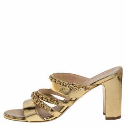 Chanel Gold Leather Chain Link Sandals Size 38 346777