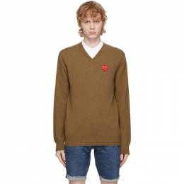 Comme des Garcons Play Brown Double Heart V-Neck Sweater P1N074