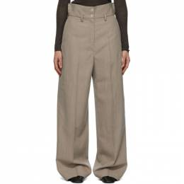 Lemaire Beige Gabardine High Waisted Trousers W 204 PA291 LF528