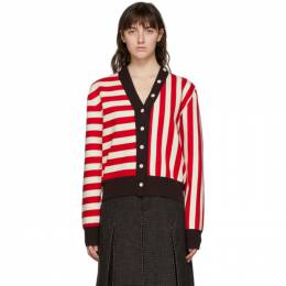 Sunnei Red and Off-White Twinset Cardigan TWC01