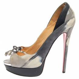 Christian Louboutin Grey/Blue Leather, Suede And Mesh Bow Peep Toe Pumps Size 40 353304