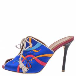 Malone Souliers Blue Satin Embroidered Peep Toe Lace Up Slide Mules Size 36 354698