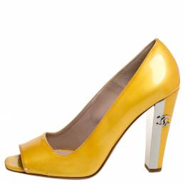 Chanel Yellow Patent Leather Open Toe CC Pumps Size 38 354367