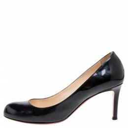 Christian Louboutin Black Patent Leather New Simple Pumps Size 38 353417
